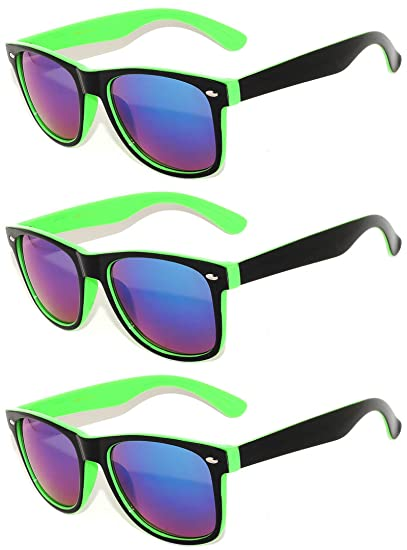 df866bdeab Amazon.com  Retro 80 s Black - Green – 2 Tone Sunglasses Mirror Lens ...