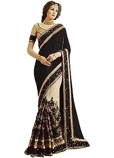4453814ef8 Nivah Fashion Women's Satin & Net Half & Half Embroidery work With Real  Diamond's Material Saree
