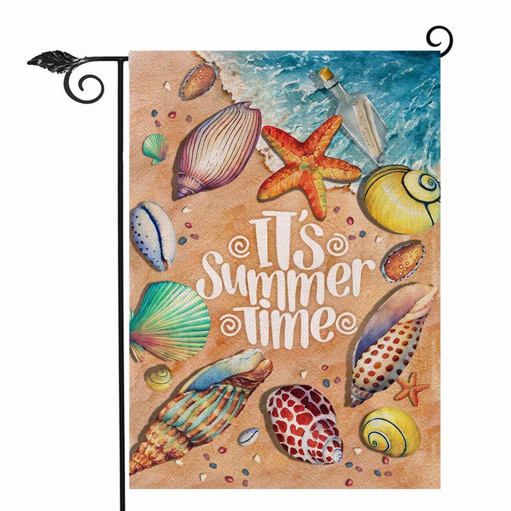 Hzppyz It's Summer Time Beach Garden Flag Double Sided, Nautical Sea Decorative House Yard Lawn Outdoor Small Burlap Flag, Coastal Starfish Shell Decor Seasonal Home Outside Welcome Decoration 12 x 18