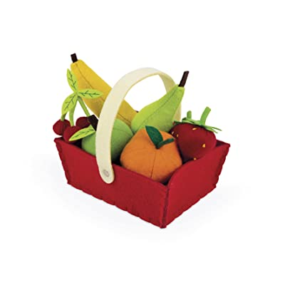 Janod Fabric Basket with 8 Fruits: Toys & Games