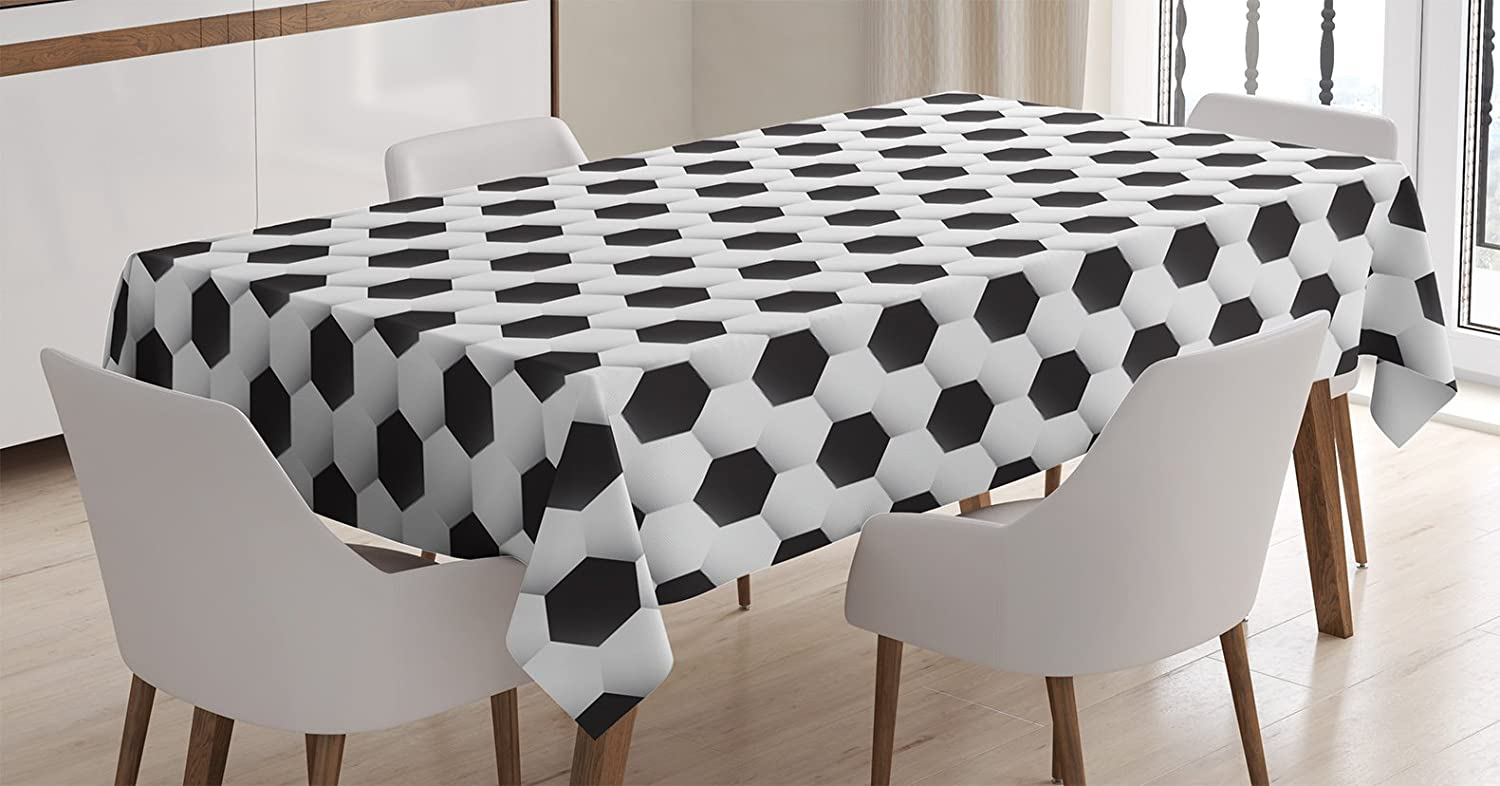 """Ambesonne Sports Tablecloth, Soccer Ball Vivid Pattern Athletic Sport Themed Geometrical Modern Design, Rectangular Table Cover for Dining Room Kitchen Decor, 52"""" X 70"""", White Charcoal"""