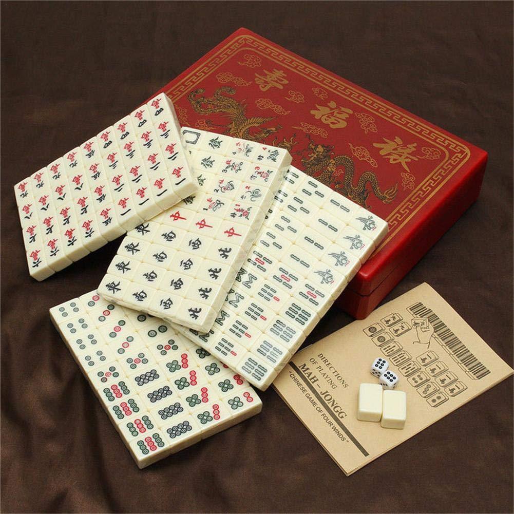 Wangyan 123 Mahjong,Juego De Mahjong Numerado Chino 144 Azulejos Juego De Mah-Jong Juguete Chino Port/átil con Caja Mahjong De Viaje Mah-jongg Port/átil con Caja De Cuero Arcaico fit