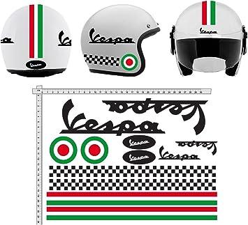 Pegatinas Casco Kit Casco Vespa Nero Italia Vinilo Viny Pulido ...