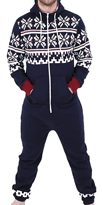 9d86c0533d21 Men s one Piece Jumpsuit Hooded Playsuit All in one Aztec Navy Small  (UJT-8RS1