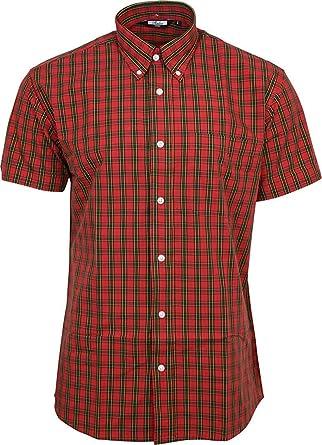 Relco Hombre Tartán Rojo Manga Corta con Botones 100% Camisa de Algodón: Amazon.es: Ropa y accesorios