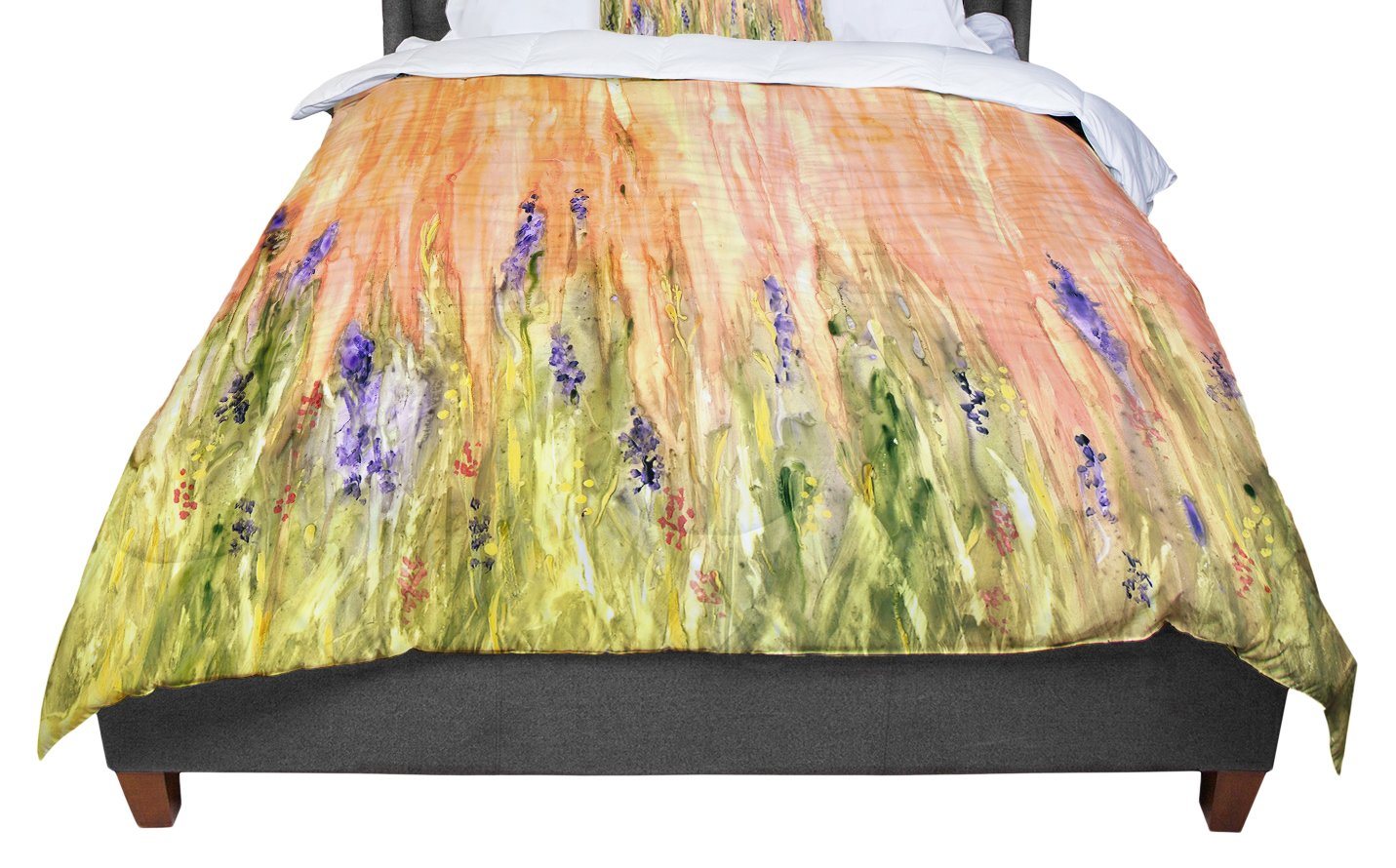 KESS InHouse Rosie Brown 'Welcome Spring' Orange Green King / Cal King Comforter, 104' X 88'