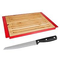 Silley Set Tagliere per pane bambù + Coltello per pane acciaio–Tagliere pane con vaschetta per briciole contenitore rimovibile–Rosso