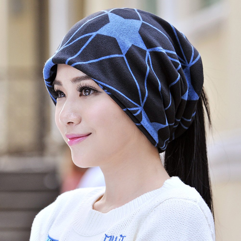 Infgreate Stylish Warm Hat Unisex Star Pattern Printing Autumn Slouchy Beanie Cool Fashion Scarf Cap Hat