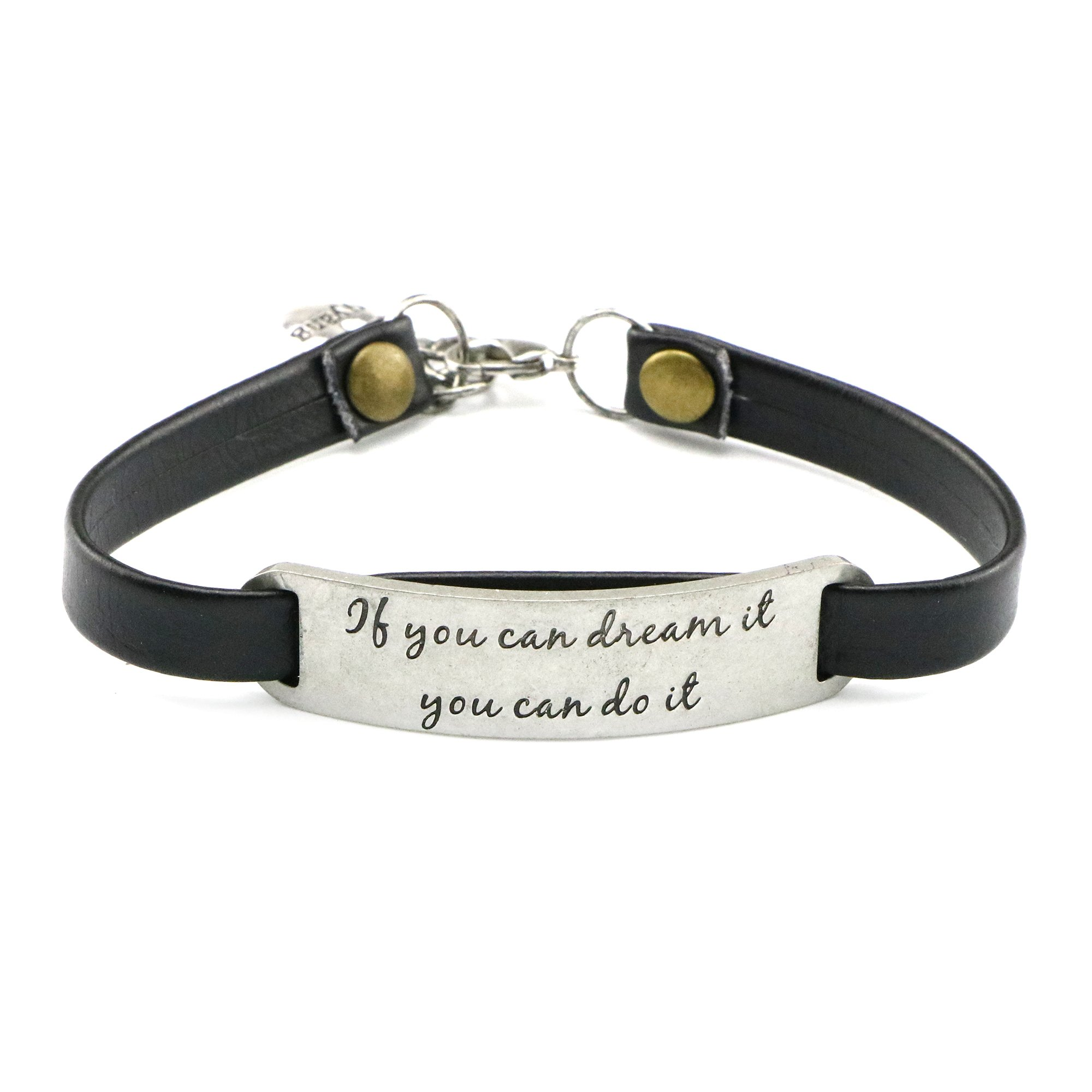UNQJRY Graduation Gift for Her Inspirational Jewelry Leather Bracelet If you dream it, you can do it