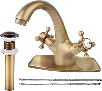 DSY Basin Faucet Water Faucet Vintage Bathroom Taps Sink Faucet Waterfall Antique Brass Boat Hole Single Handle Faucet Bathroom Taps