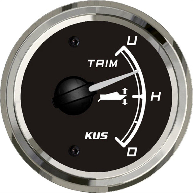 SEAWELL Kus Boat Yacht Trim Gauge Marine Trim Tilt Indicator for Outboard Engine 52mm 12/24V (Black)