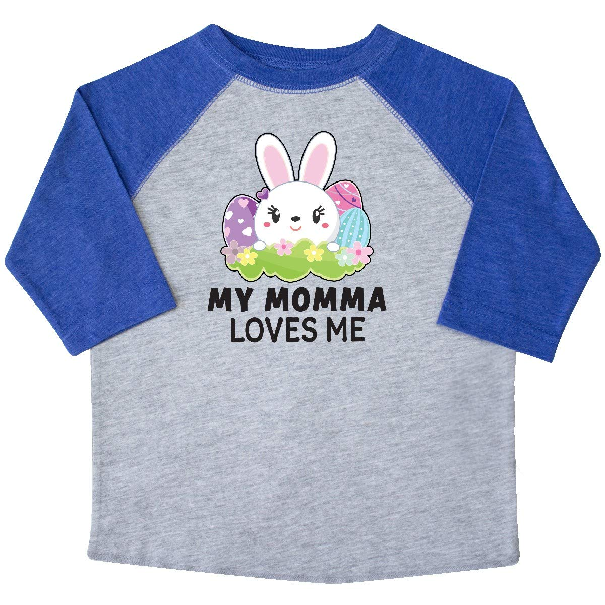 inktastic My Momma Loves Me with Bunny and Easter Eggs Toddler T-Shirt