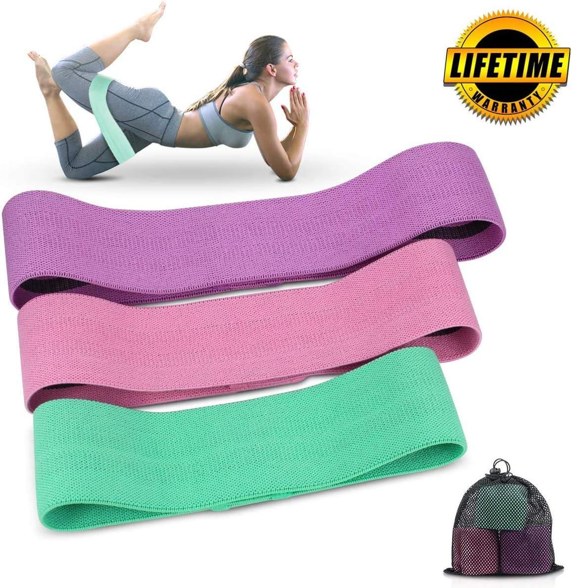 Crossfit 3 Piezas Cintas Elasticas Musculacion para Yoga Fitness Cocoda Bandas Elasticas Musculacion Pilates Ancha Antideslizantes Bandas de Resistencia con 3 Niveles para Cadera//Gluteos//Piernas