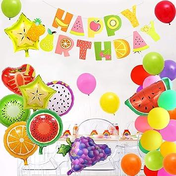 SPECOOL cumpleaños Globos de Frutas, cumpleaños Decoracion para Fiesta Infantil, Happy Birthday Banner Gran Globo de Papel de Aluminio para Fiesta de ...