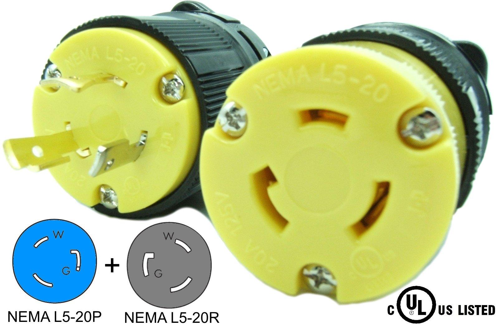 Journeyman-Pro 20 Amp, Plug & Connector Set, NEMA L5-20R & L5-20P, 125V, Locking Plug Socket, Black Industrial Grade, Grounding 2500 Watts Generators (L5-20PR PLUG SET)