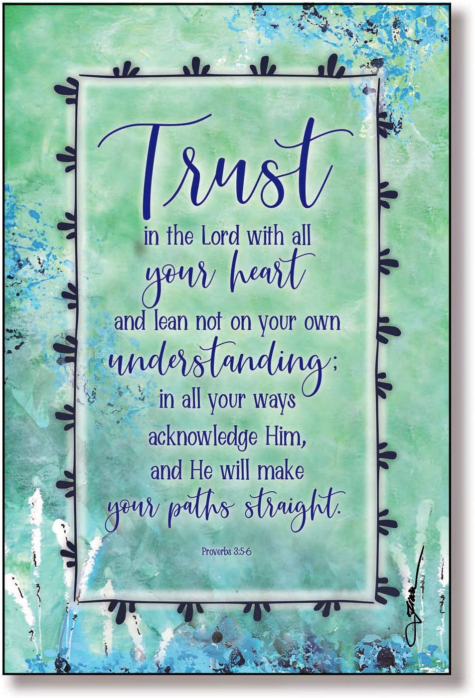 """Trust The Lord Wood Plaque Inspiring Quotes 6""""x9"""" - Classic Vertical Frame Wall & Tabletop Decoration   Easel & Hanging Hook   in All Your Ways acknowledge Him, and He Will Make Your Paths Straight"""