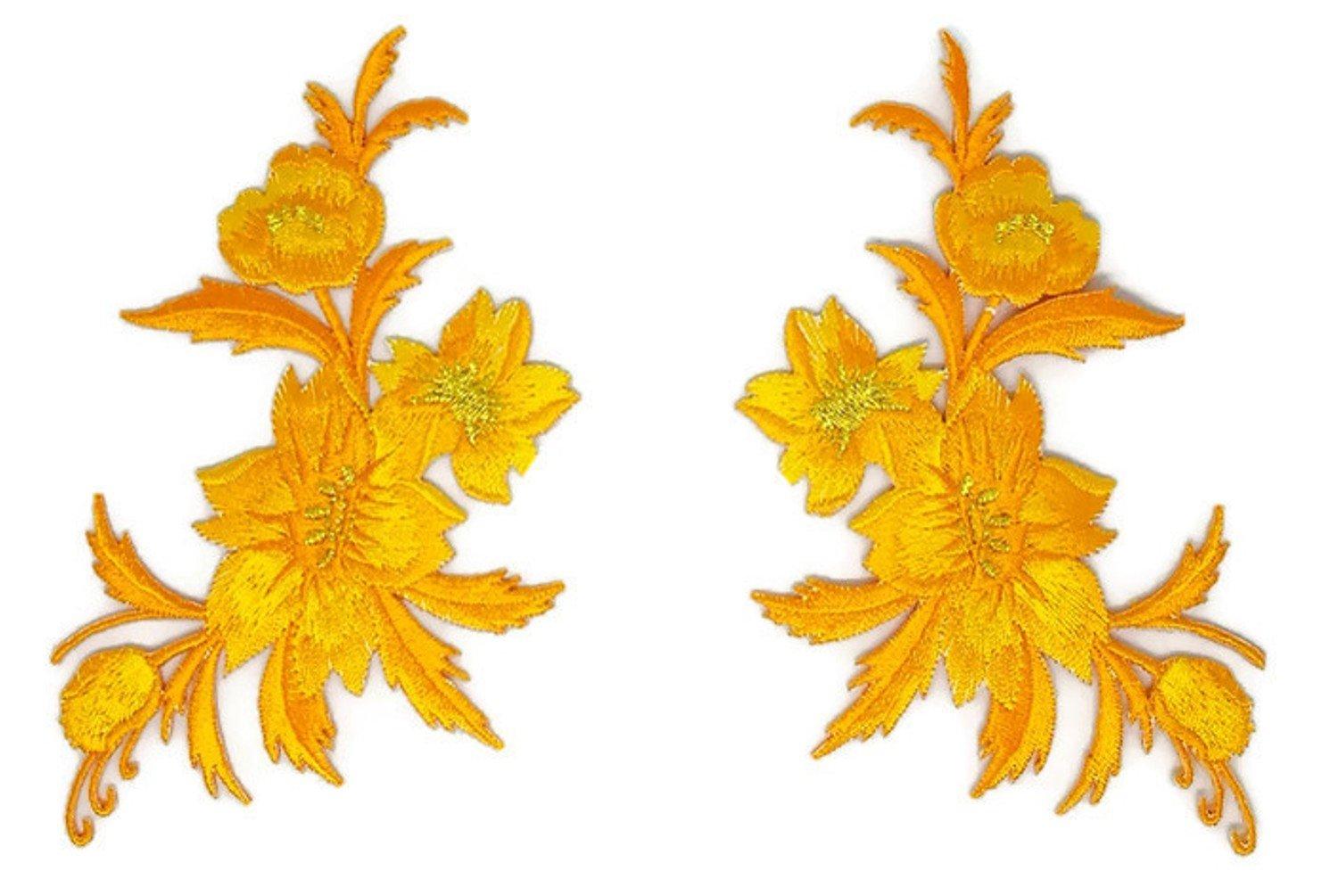 Par de parches de oro amarillo con diseño de flores, bordados, para ...