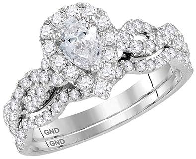 Amazon Com Midwest Jewellery 14k White Gold Pear Shaped Diamond