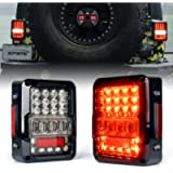 Xprite LED Tail Lights for Jeep Wrangler JK JKU 2007-2018, High Intensity Led Taillights w/ 4D Clear Lens Parking light…