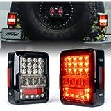 Xprite LED Tail Lights for Jeep Wrangler JK JKU 2007-2018, High Intensity Led Taillights w/ 4D Clear Lens Parking light…
