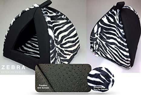 Caseta para perro y gato de interior tela cebra alta calidad (38x 38