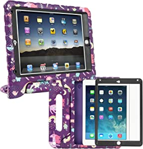 HDE Case for iPad Air 2 - Kids Shockproof Bumper Hard Cover Handle Stand with Built in Screen Protector for Apple iPad Air 2-2014 Release 2nd Generation (Unicorn)