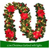 270cm Green Christmas Garland Illuminated Warm White Light Artificial Wreath Decorated Red Baubles Flowers Fireplace Xmas Tree Decoration (9ft)