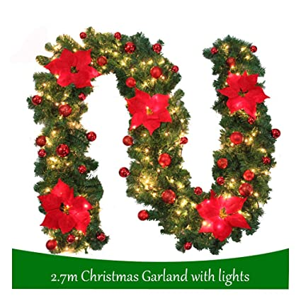270cm Green Christmas Garland Illuminated Warm White Light Artificial Wreath Decorated Red Baubles Flowers Fireplace Xmas Tree Decoration 9ft