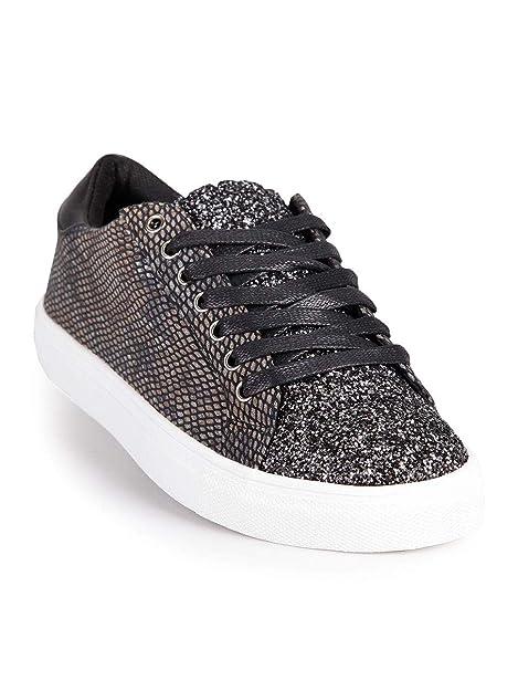 Sneakers Basse con Glitter Effetto Pitonato Donna Tessuto  Amazon.it  Scarpe  e borse d27f613b535