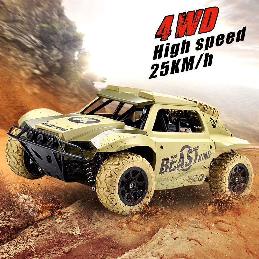 GizmoVine RC Coche Teledirigido Vehículo 25KM/H 4WD 1/18 Escala 2.4Ghz Alta Velocidad Rock Crawler Coches Control Remoto de Radio Fuera del Camino RTR ...
