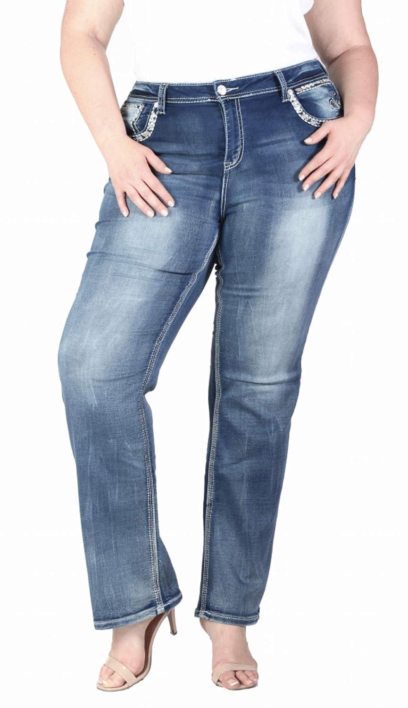 Grace in LA Plus Size Mid Rise Knit Soft Denim Faux Flap Pocket Embellished Straight Leg Jeans