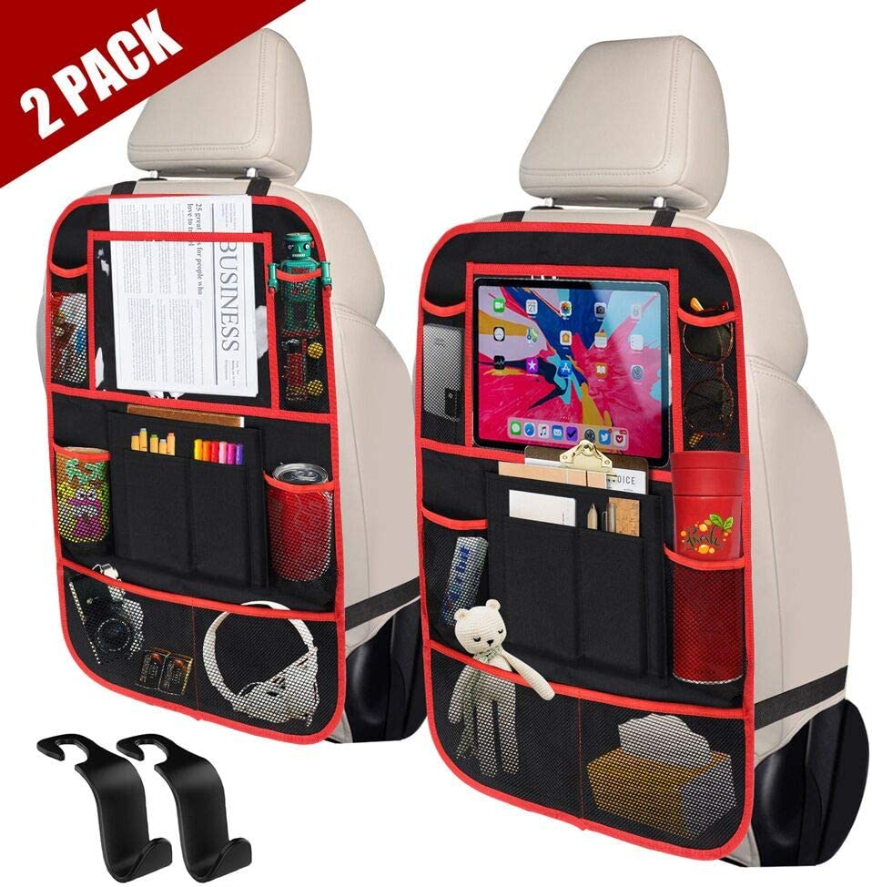 9 Storage Pockets Seat Back Protectors Kick Mats for Toy Bottle Book Drink ULEEKA Car Backseat Organizer with 10 Tablet Holder 2 Pack Universal Fit Travel Accessories for Kid /& Toddlers