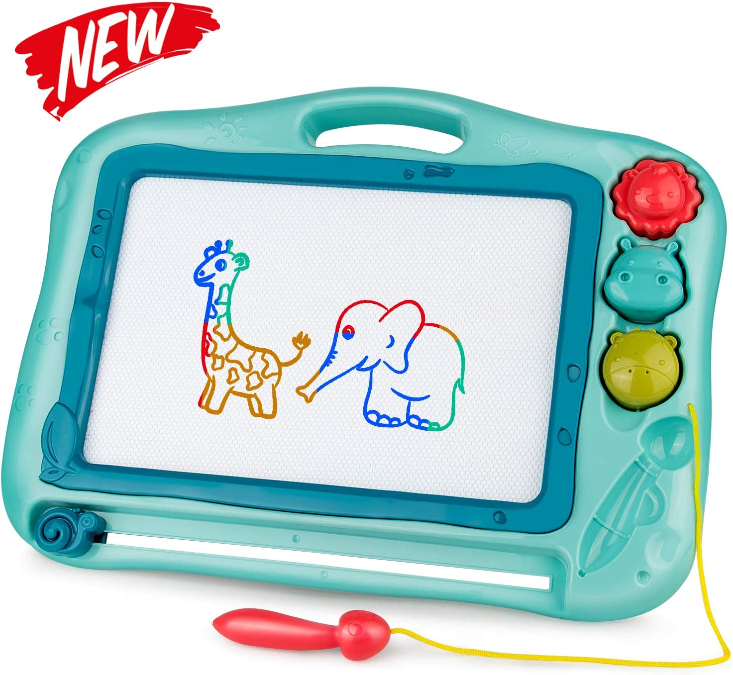 Gamenote Magnetic Drawing Board for Kids 12×16 inch - Doodle Board for Toddlers Comes with Adorable 3 Stamps