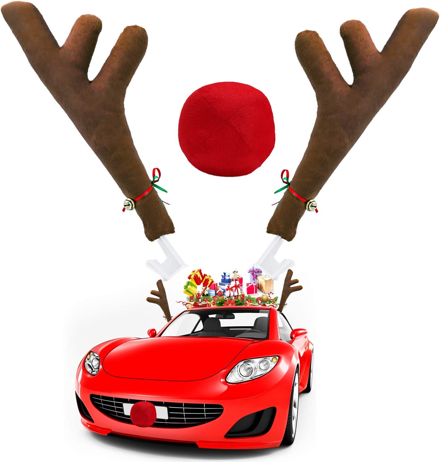 Ankuka Car Reindeer Antlers & Nose Decorations, Window Roof-Top & Front Grille Rudolf Reindeer Jingle Bell Christmas Costume Auto Accessories