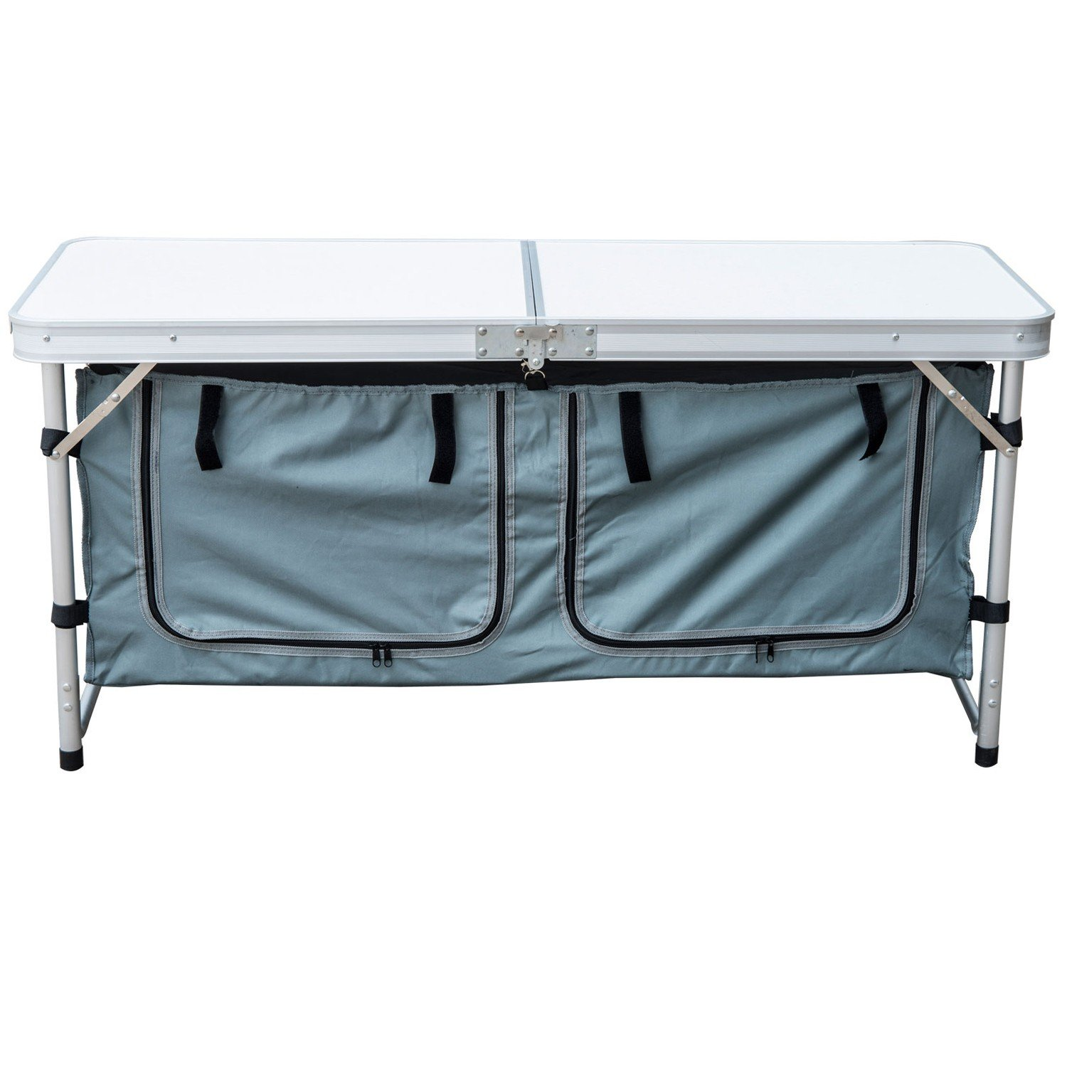 Outdoor Picnic Aluminum Folding Camping Table Storage Organizer w/ Carrying Handle With Ebook
