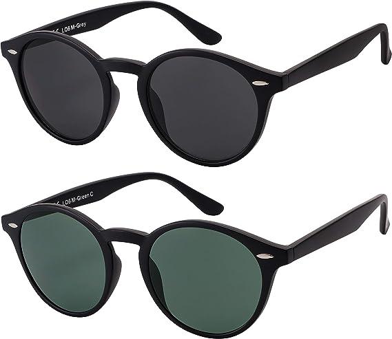 Original La Optica UV400 - Gafas de sol unisex, estilo retro, redondas, colores individuales, pack doble, espejadas Pack doble negro mate (cristales: 1 gris, 1 verde clásico). M: Amazon.es: Ropa y accesorios