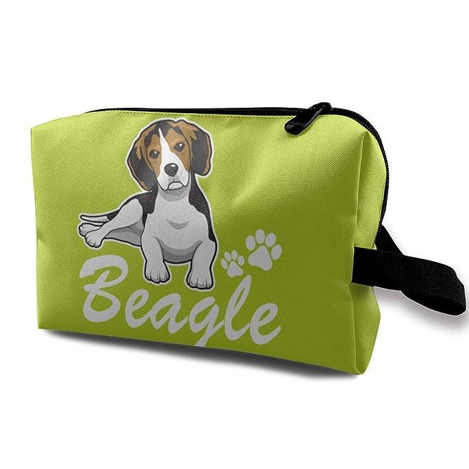 72a34c6a6564 Amazon.com: Happy Beagle Dog Travel Makeup Handbag Cosmetics Bag ...