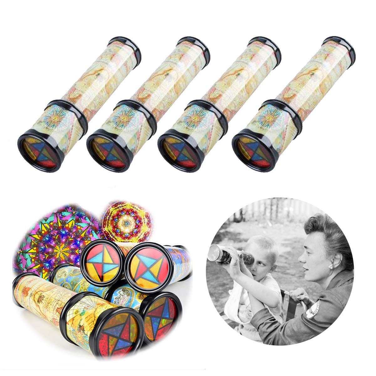 DLOnline 4PCS Old World Kaleidoscope Magic Classic Toy for Children