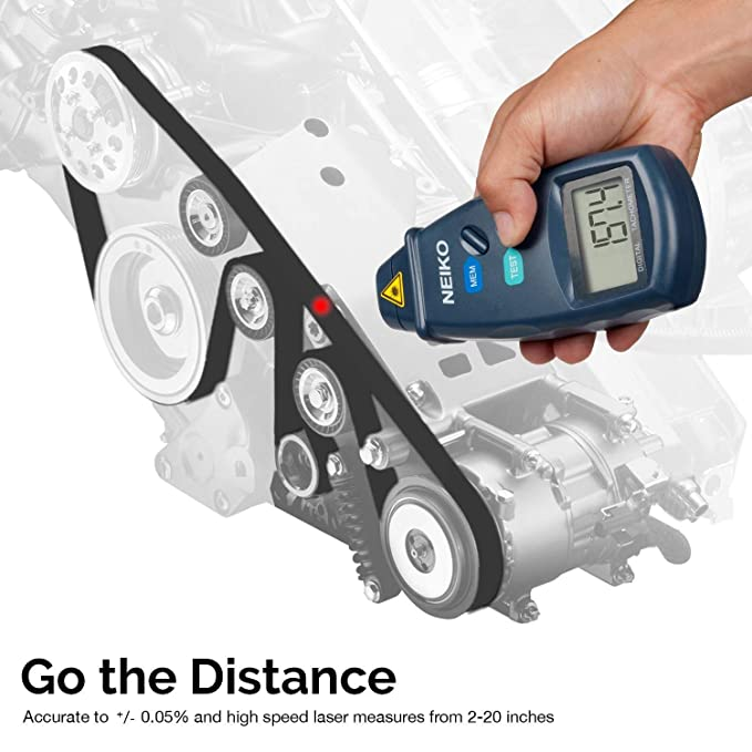 Neiko 20713A Digital Tachometer, Non Contact Laser Photo | 2 5 - 99,999 RPM  Accuracy | Batteries Included