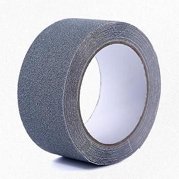 Cinta antideslizante de PVC esmerilado impermeable para escaleras, rampas de silla de ruedas, escaleras, fuegos, 5 m x 5 cm x 0,75 mm Tamaño libre gris: ...