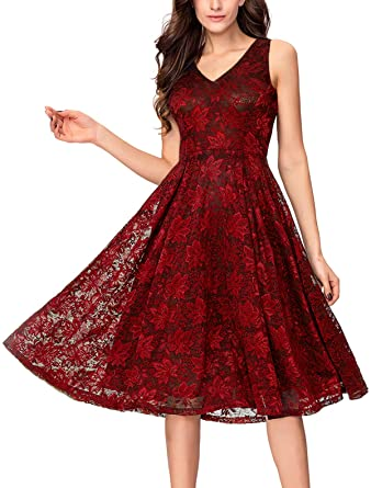 1a77a966ddc5d Noctflos Lace V Neck Fit   Flare Midi Cocktail Dress for Women Party  Wedding Burgundy