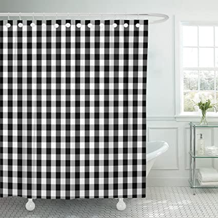 TOMPOP Shower Curtain Plaid Black And White Buffalo Gingham Pattern Slight Grain Waterproof Polyester Fabric 72