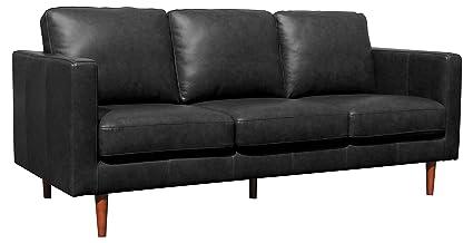 Sofa Cuero Ikea.Rivet Revolve Modern Leather Sofa With Tapered Legs 79 9 W Black