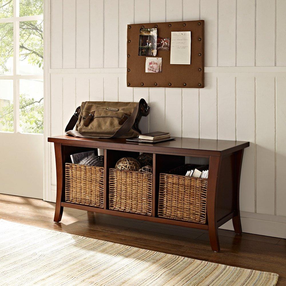amazoncom crosley furniture wallis entryway storage bench vintage mahogany kitchen u0026 dining