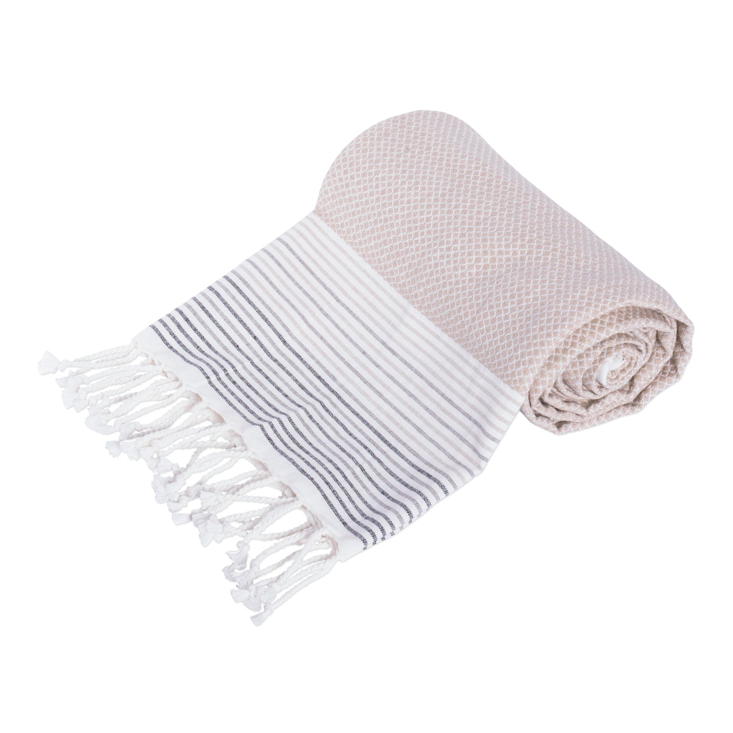 DII Peshtemal Turkish Super Soft, Absorbent, Oversized Bath Towel, Throw, Blanket Fringe for Chair, Couch, Picnic, Camping, Beach, Yoga, Pilates, Everyday Use, 39 x 71 - Taupe Stripe