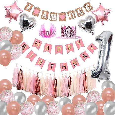 Happy 1st Birthday 4 Piece HIGHCHAIR DECORATING KIT Pink /& Gold Baby Girl