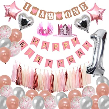 Wm 1st Birthday Decorations Rose Gold For Girls Pink Happy Birthday Banner For Baby Girl 1st Birthday Party Set With Cake Topper Rose Gold Silver Pink White Confetti Latex Balloons Kit Amazon Co Uk