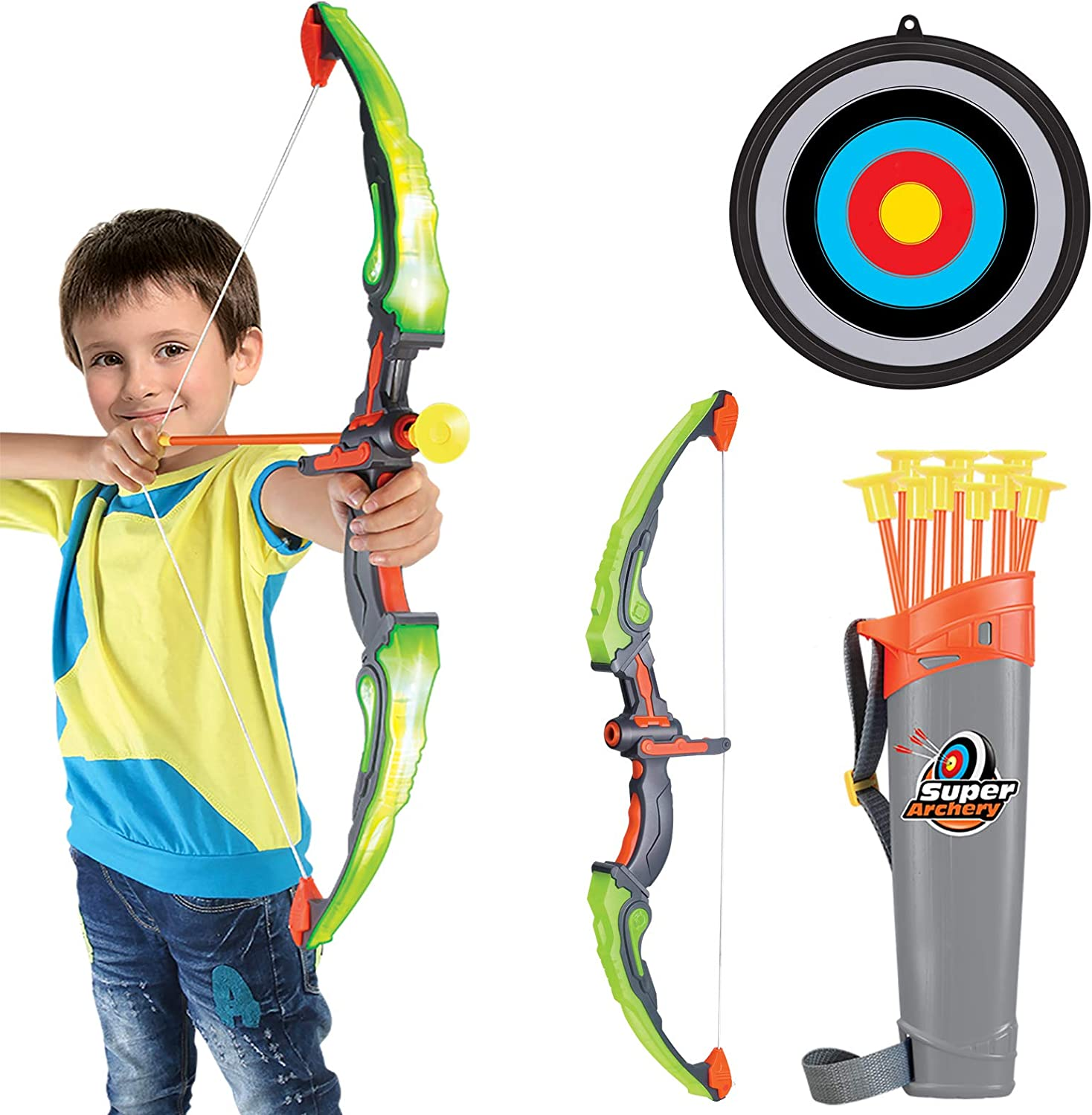 Conthfut Bow and Arrow for Kids with LED Flash Lights - Archery Bow with 9 Suction Cups Arrows, Target, and Quiver, Practice Outdoor Toys for Children Above 5-12 Years Old Green