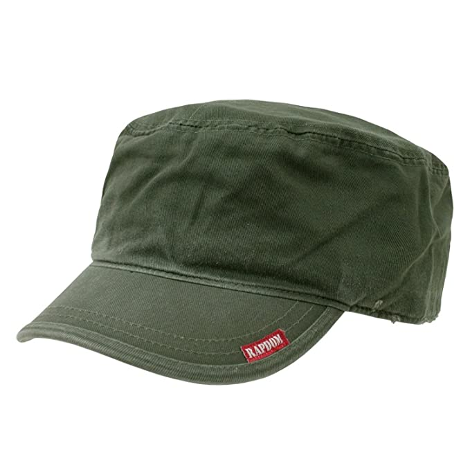 55d220a4 Amazon.com: Olive Green Flat Top Military Inspired Adjustable Patrol ...