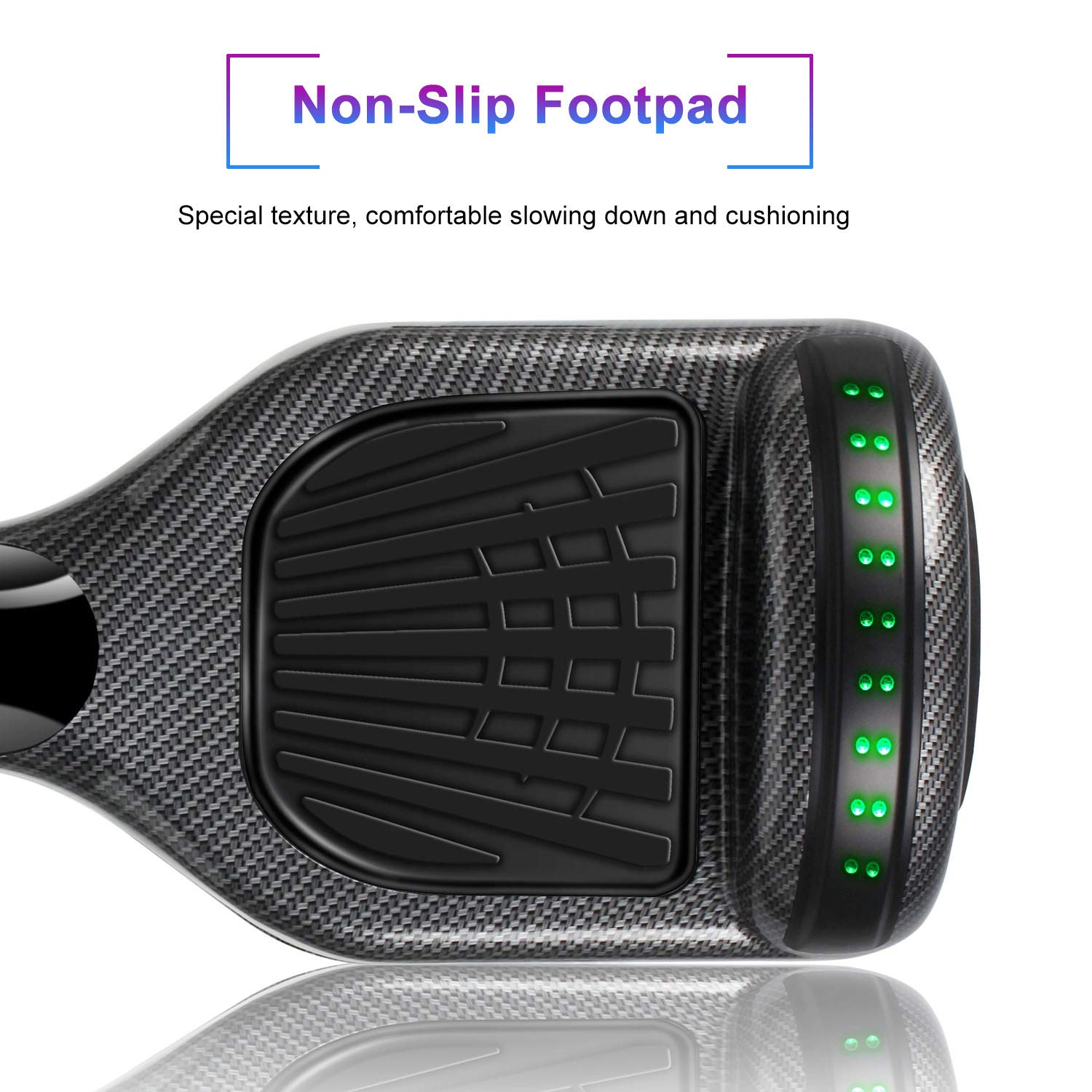 SISIGAD Hoverboard Self Balancing Scooter 6.5'' Two-Wheel Self Balancing Hoverboard with Bluetooth Speaker and LED Lights Electric Scooter for Adult Kids Gift UL 2272 Certified - Carbon Black by SISIGAD (Image #5)